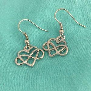 Jewelry - Infinity heart silver earrings